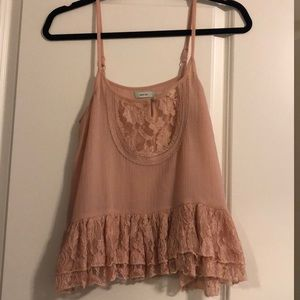 Pink flowy lace tank from Urban outfitters